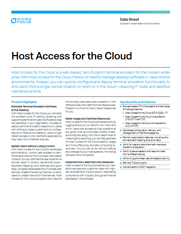 Host Access for the Cloud -TechProspect Host Access for the Cloud -TechProspect