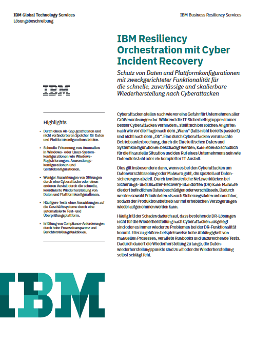 IBM Resiliency Orchestration mit Cyber Incident Recovery -TechProspect IBM Resiliency Orchestration mit Cyber Incident Recovery -TechProspect