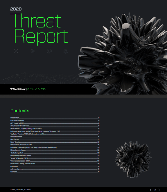 2020 Threat Report by Cylance Blackberry -TechProspect 2020 Threat Report by Cylance Blackberry -TechProspect