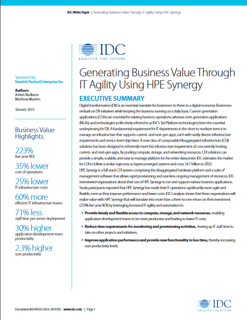 Generating Business Value Through IT Agility Using HPE Synergy White Paper Synergy -TechProspect Generating Business Value Through IT Agility Using HPE Synergy White Paper Synergy -TechProspect
