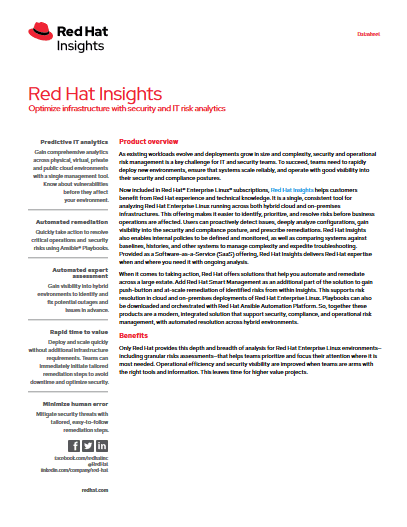 Red Hat Insights – Optimize infrastructure with security and IT risk analytics -TechProspect Red Hat Insights – Optimize infrastructure with security and IT risk analytics -TechProspect