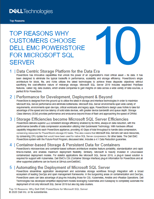 Top Reasons Why Customers Choose Dell Technologies Powerstore For Microsoft SQL Server -TechProspect Top Reasons Why Customers Choose Dell Technologies Powerstore For Microsoft SQL Server -TechProspect