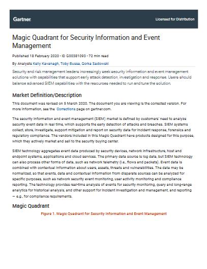 Magic Quadrant for Security Information and Event Management -TechProspect Magic Quadrant for Security Information and Event Management -TechProspect