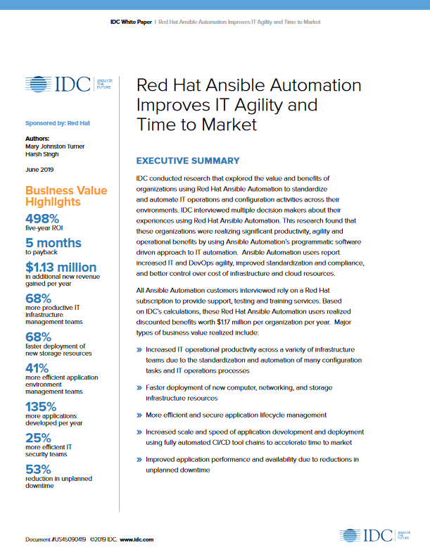 Red Hat Ansible Automation Improves IT Agility and Time to Market -TechProspect Red Hat Ansible Automation Improves IT Agility and Time to Market -TechProspect