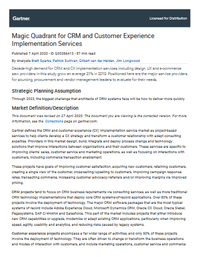 Magic Quadrant for CRM and Customer Experience Implementation Services -TechProspect Magic Quadrant for CRM and Customer Experience Implementation Services -TechProspect