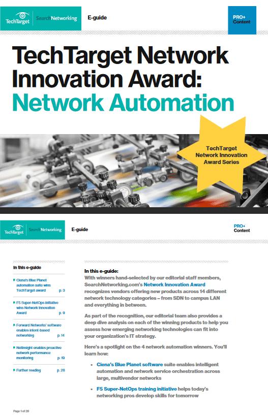 TechTarget Network Innovation Award Network Automation -TechProspect TechTarget Network Innovation Award Network Automation -TechProspect