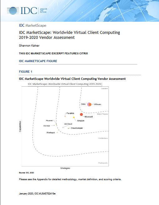 IDC MarketScape: Worldwide Virtual Client Computing 2019-2020 Vendor Assessment -TechProspect IDC MarketScape: Worldwide Virtual Client Computing 2019-2020 Vendor Assessment -TechProspect