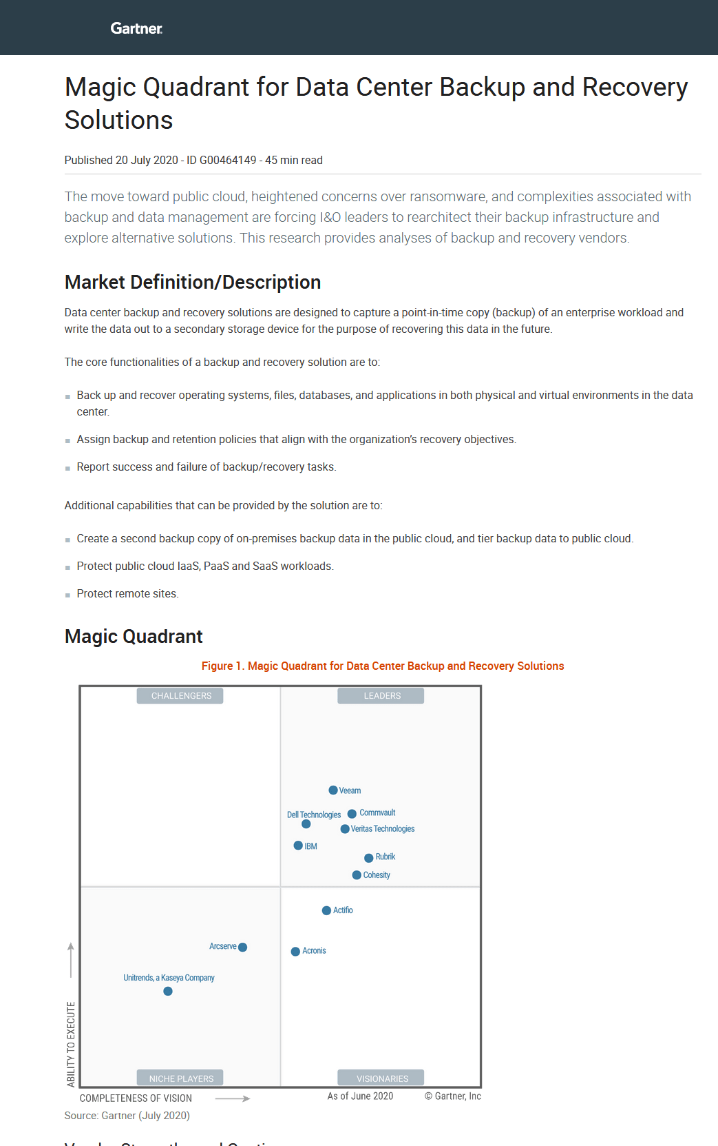 Magic Quadrant for Data Center Backup and Recovery Solutions -TechProspect Magic Quadrant for Data Center Backup and Recovery Solutions -TechProspect