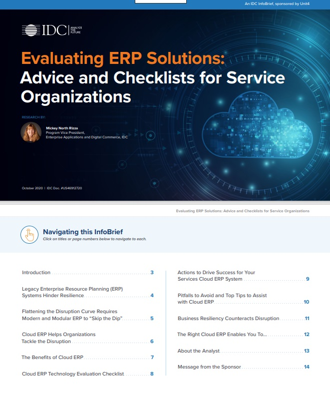 Evaluating ERP Solutions: Advice and Checklists for Service Organizations -TechProspect Evaluating ERP Solutions: Advice and Checklists for Service Organizations -TechProspect