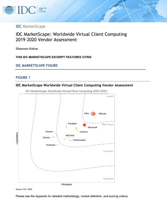 IDC MarketScape: Worldwide Virtual Client Computing 2019–2020 Vendor Assessment -TechProspect IDC MarketScape: Worldwide Virtual Client Computing 2019–2020 Vendor Assessment -TechProspect