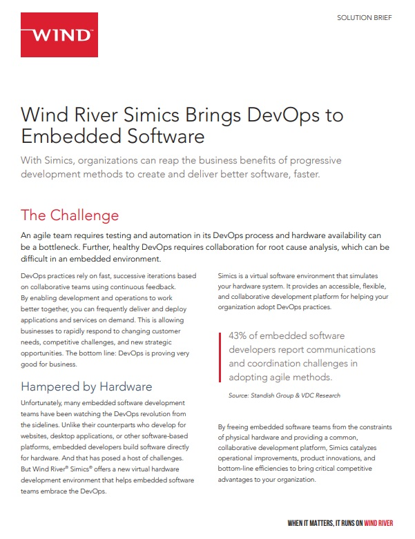 Wind River Simics Brings DevOps to Embedded Software -TechProspect Wind River Simics Brings DevOps to Embedded Software -TechProspect