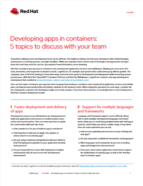 Developing Apps In Containers: 5 Topics To Discuss With Your Team -TechProspect Developing Apps In Containers: 5 Topics To Discuss With Your Team -TechProspect