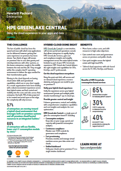HPE GreenLake Central -TechProspect HPE GreenLake Central -TechProspect