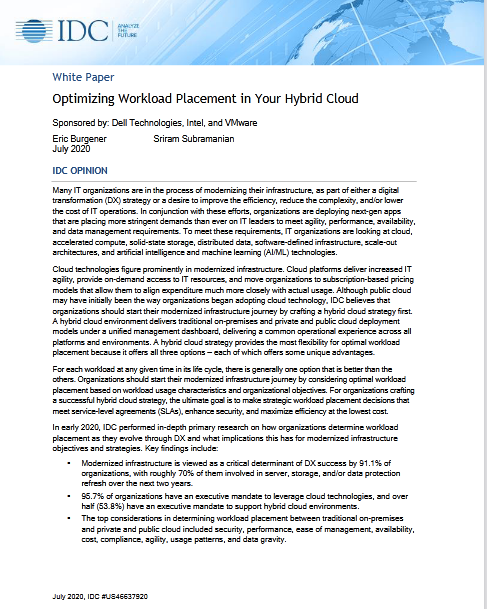 Optimizing Workload Placement in Your Hybrid Cloud -TechProspect Optimizing Workload Placement in Your Hybrid Cloud -TechProspect