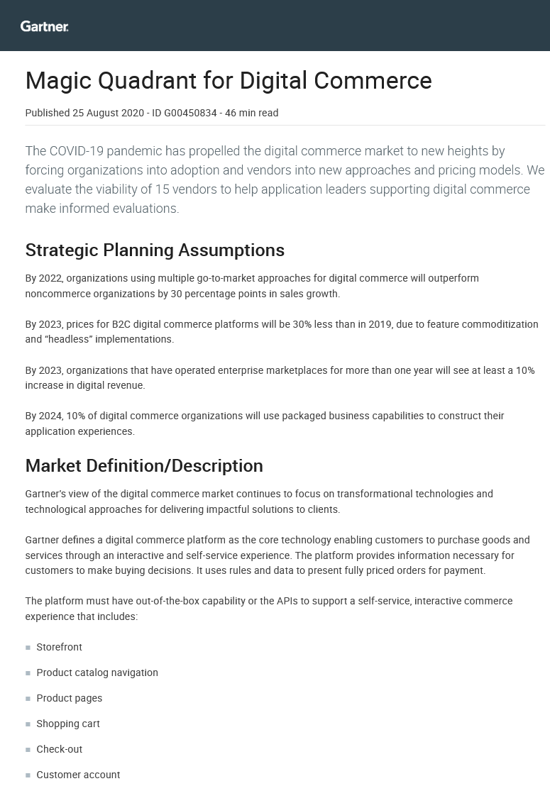 Magic Quadrant for Digital Commerce -TechProspect Magic Quadrant for Digital Commerce -TechProspect