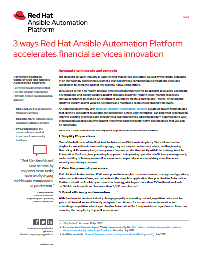 3 Ways Red Hat Ansible Automation Platform Accelerates Financial Services Innovation -TechProspect 3 Ways Red Hat Ansible Automation Platform Accelerates Financial Services Innovation -TechProspect