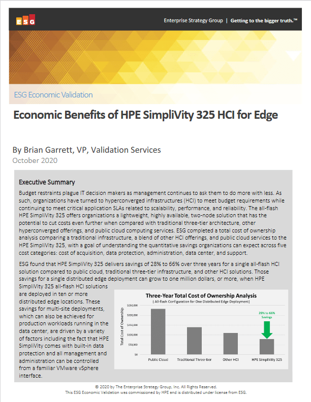 Economic Benefits of HPE SimpliVity 325 HCI for Edge -TechProspect Economic Benefits of HPE SimpliVity 325 HCI for Edge -TechProspect