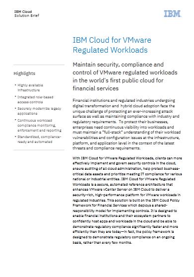 IBM Cloud for VMware Regulated Workloads -TechProspect IBM Cloud for VMware Regulated Workloads -TechProspect
