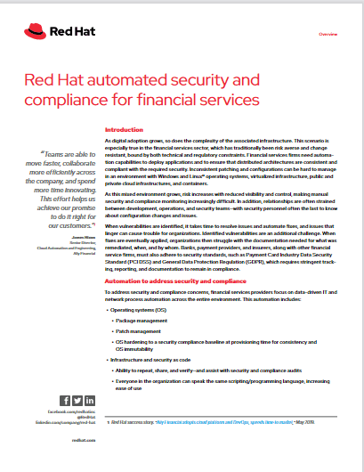 Red Hat Automated Security and Compliance for Financial Services -TechProspect Red Hat Automated Security and Compliance for Financial Services -TechProspect