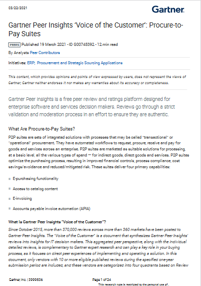 Gartner Peer Insights 'Voice of the Customer': Procure-to-Pay Suites -TechProspect Gartner Peer Insights 'Voice of the Customer': Procure-to-Pay Suites -TechProspect