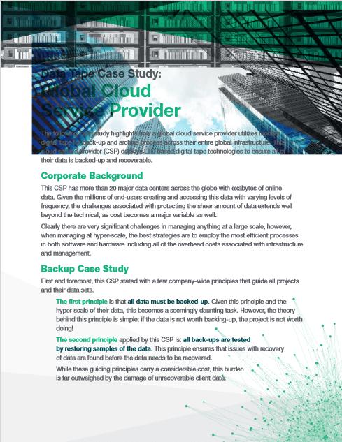 Data Tape Case Study: Global Cloud Service Provider -TechProspect