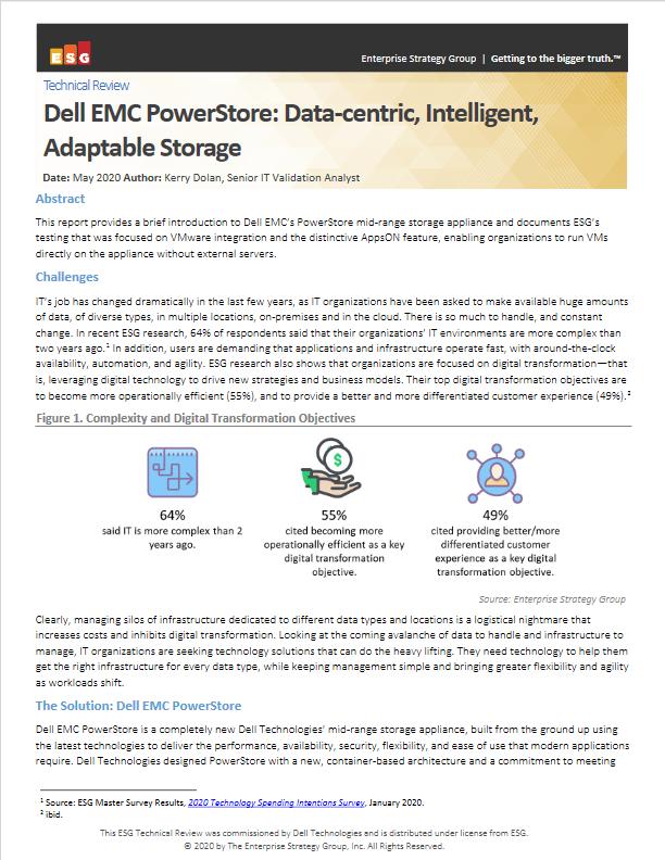 ESG Dell EMC PowerStore Data-centric Intelligent Adaptable Storage 2020 -TechProspect ESG Dell EMC PowerStore Data-centric Intelligent Adaptable Storage 2020 -TechProspect