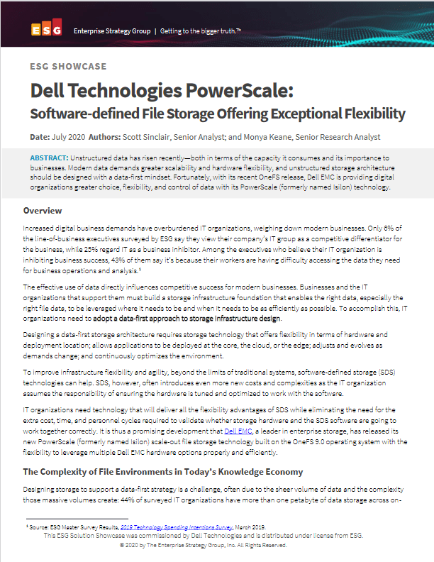 ESG Dell Technologies PowerScale Software defined File Storage Offering Exceptional Flexibility 2020 -TechProspect ESG Dell Technologies PowerScale Software defined File Storage Offering Exceptional Flexibility 2020 -TechProspect
