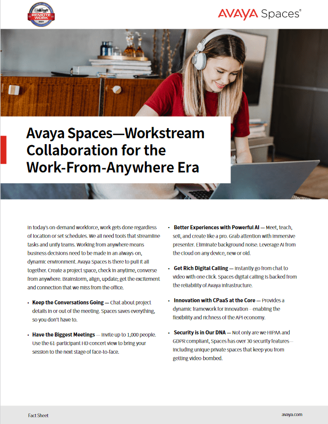 Avaya Spaces – Workstream Collaboration for the Work-From-Anywhere Era -TechProspect Avaya Spaces – Workstream Collaboration for the Work-From-Anywhere Era -TechProspect