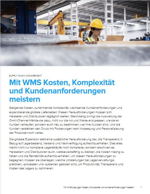 Mastering Costs, Complexity and Customer Requirements With WMS -TechProspect Mastering Costs, Complexity and Customer Requirements With WMS -TechProspect