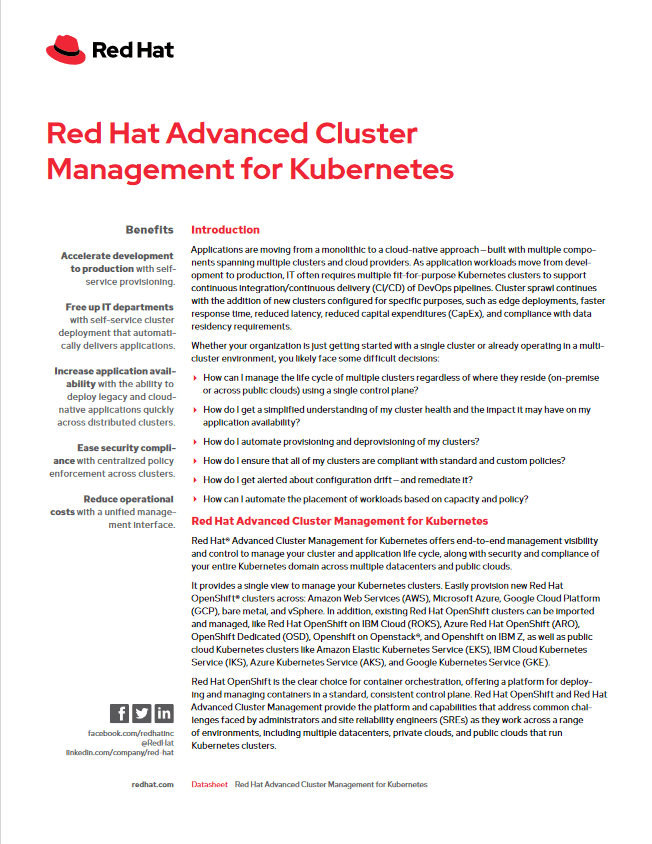 Red Hat Advanced Cluster Management for Kubernetes -TechProspect Red Hat Advanced Cluster Management for Kubernetes -TechProspect