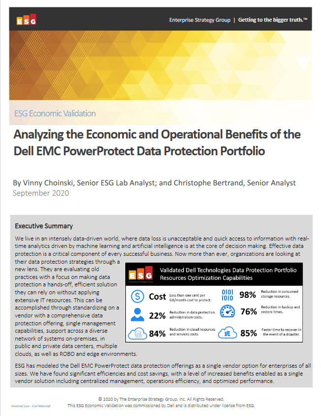 Analyzing the Economic and Operational Benefits of the Dell EMC PowerProtect Data Protection Portfolio -TechProspect Analyzing the Economic and Operational Benefits of the Dell EMC PowerProtect Data Protection Portfolio -TechProspect