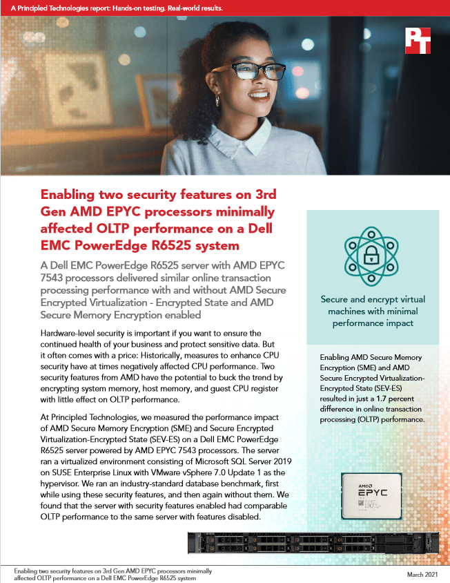 Enabling two security features on 3rd Gen AMD EPYC processors minimally affected OLTP performance on a Dell EMC PowerEdge R6525 system -TechProspect Enabling two security features on 3rd Gen AMD EPYC processors minimally affected OLTP performance on a Dell EMC PowerEdge R6525 system -TechProspect